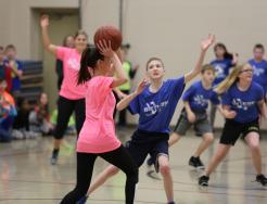 Staff and student basketball game