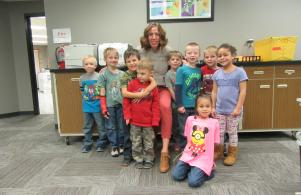 Kindergarten Students with Mrs. Campbell